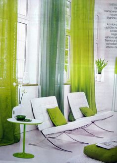 white Barcelona chairs+green curtains=swoon! (Moj stan magazine, July 2010)