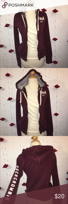 Abercrombie & Fitch hoodie Abercrombie & Fitch burgundy hoodie, good condition and very warm !! Size: small Abercrombie & Fitch Jackets & Coats