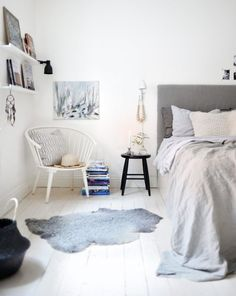 Home accessory: bedroom rug chair bedding grey cozy home furniture combat boots