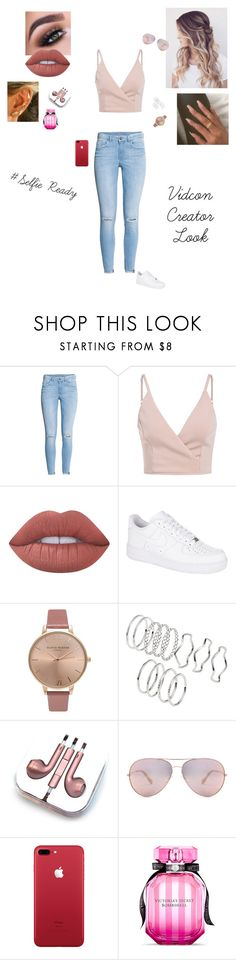 """""""Vidcon look"""" by sonialicetmartinez ❤ liked on Polyvore featuring H&M, Lime Crime, NIKE, Olivia Burton, PhunkeeTree and Victoria's Secret"""