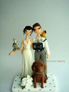Lovely couple with cute pets Customized wedding cake topper  http://www.etsy.com/shop/Clayphory
