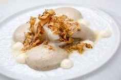 Giancarlo Perbellini | foto @AromiCreativi | Trancio di baccalà con crema di topinambur e maionese all'aglio