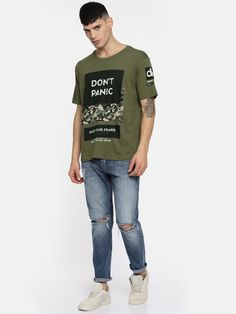 Buy Moda Rapido Men Olive Green Printed Round Neck T Shirt - Tshirts for Men 4331716 | Myntra