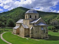Gradac Monastery (Serbia). Endowment of Queen Helen (of the Anjou) wife of Serbian King Uros I. It is located 20 km north from Raska and was built in the 13th century. The church is predominantly in the style of the autochthonous Raska school, though with certain Gothic elements.