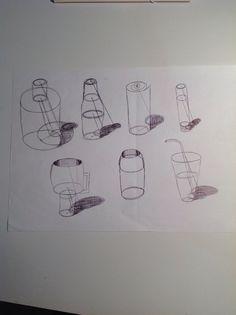 Composición de objetos cilíndricos con sombra práctica