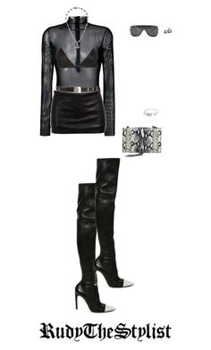 """""""Untitled #156"""" by rudythestylist ❤ liked on Polyvore featuring MM6 Maison Margiela, Yves Saint Laurent, Chrome Hearts, NYX, Givenchy, Ann Demeulemeester, Acne Studios and Cartier"""