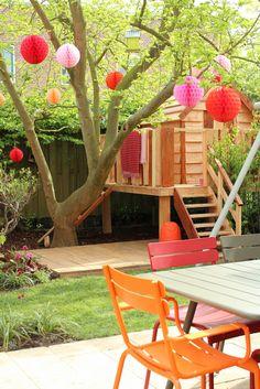 Studio Marijke Schipper: televisie. Mooi balkon of tuin met kinderen. Balcony or garden with kids