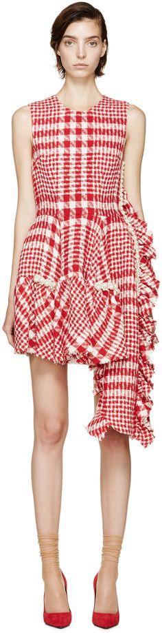 Simone Rocha: Red & White Checkered Tweed Dress
