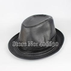 5e3feb15a79404 [US $14.59] & LongBaiLi Plain Black Mens Faux Leather Fedora Hats Chapeu # black #chapeu #faux #fedora #hats #leather #longbaili #mens #plain