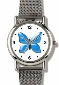 Blue Butterfly - JP Animal - WATCHBUDDY® ELITE Chrome-Plated Metal Alloy Watch with Metal Mesh Strap-Size-Small ( Children's Size - Boy's Size & Girl's Size ) WatchBuddy. $79.95. Save 37% Off!