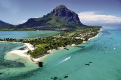 Beachcomber's Paradis resort in Mauritius with the Le Morne mountain in the background.