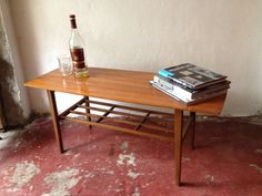 50s60s NATHAN COFFEE TABLE Vintage TOLA TEAK BLACK WOOD Retro
