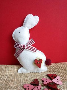 Felt bunny, Easter decoration, Easter basket filler Felt Bunny, Bunny Rabbit, Easter Gift, Easter Bunny, Easter Baskets, Cute Gifts, House Warming, Dinosaur Stuffed Animal, Gift Ideas