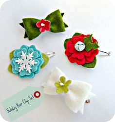 Christmas hair clips - could try something simpler than this. Might make good stocking fillers