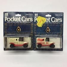 2 TOMY Pocket Cars Ford Bakery Delivery Trucks Diecast 1977 NOS On Card 134-F13