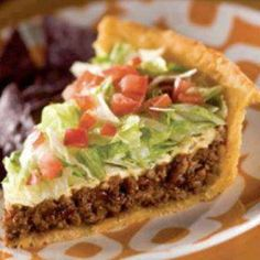 Taco Pie 1 frozen pie shell 1  Taco seasoning mix 1 p ground beef 1/2 c ch onion 1/2 c salsa 1 c shredded lettuce 1 med tomato, chopped 1 c sharp cheddar cheese, shredded Sour cream  In a medium skillet, cook beef and onions until beef is browned Drain. Add Salsa and taco seasoning. Cook until bubbly. Pour into Pie crust. Bake at 350° for 25 minutes, or until crust is golden brown. Let cool for 5 minutes. Top with cheese, lettuce, and tomatoes. Cut and serve with sour cream.