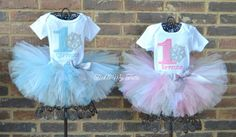 Winter ONEderland Snowflake Twin Girls' Birthday Tutu Outfit (Pink and Baby Blue)...www.ticklemytutu.com