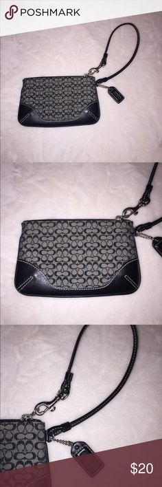 "Coach Small Wristlet Another one of Coach's classic print. Smaller in size, but no less practical. Perfect for lipstick, ID, credit cards and cash - all the essentials. Pattern and wristlet will withstand the great of time with Coach's quality product. Measures 6.5""W and 4.25""H Bags Clutches & Wristlets"