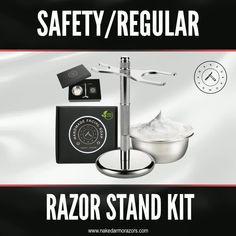 How do you like to do your shave sessions, do you like it organized or in chaos? I bet that your wife or your roommate doesn't like the chaotic set up of your shaving essentials. So we here at Naked Armor have this Safety/Regular Razor Stand Kit to solve your problem.   Say goodbye to the clutter.  Visit our website and get one now.  #nakedarmor #wetshave #shaving #straightrazor #shavingproducts #mensgroomingproducts #giftsforhim #giftideas #mensgrooming #shavingstand #safetyrazor