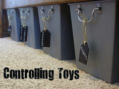 Tags are made from chipboard and chalkboard spray paint.   @ organizeyourstuffnow.com
