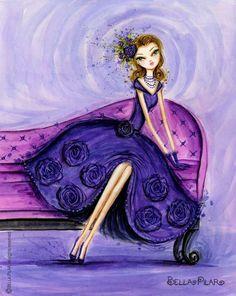 violet - illustration by Bella Pilar Art And Illustration, Watercolor Illustration, Canvas Art, Canvas Prints, Art Prints, Shades Of Purple, Violet, Creations, Sketches