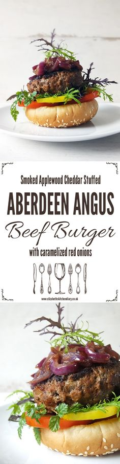 Smoked Cheddar Stuffed Aberdeen Angus Beef Burgers with Caramelized Red Onions Beef Kabob Recipes, Healthy Beef Recipes, Burger Recipes, Veggie Recipes, Delicious Recipes, Best Burger Recipe, Beef Kabobs, Best Party Food, Mac And Cheese Homemade