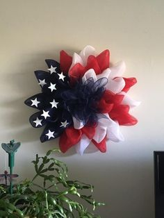 Get ready to celebrate America with this amazing DIY Patriotic wreath crafted by Theresa VandenWyngaard‎! This beautiful wreath was created using a Unique in the Creek flower frame wreath! Patriotic Wreath, Patriotic Crafts, Patriotic Decorations, July Crafts, Wreath Crafts, Diy Wreath, Tulle Wreath, Deco Mesh Wreaths, Burlap Wreaths