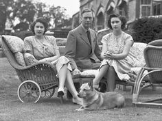 King George VI with his daughters Princess Elizabeth and Princess Margaret on July 08, 1946
