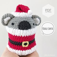 "AMIGURUMI PATTERN/ tutorial (English) Amigurumi Koala Santa ""Egg Shaped Animals - Koala Santa"" pdf - US terminology Half Double Crochet, Single Crochet, Yarn Dolls, Crochet Abbreviations, Types Of Yarn, Sewing Basics, Yarn Needle, Slip Stitch, Crochet Hooks"