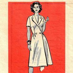 A Sleeveless, Short Sleeve or Three-Quarter Length Sleeve Front Wrap Coat-Dress Pattern, Vintage 1960s