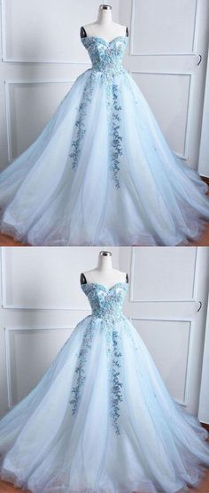 Light blue tulle lace applique long prom dress, blue evening dress