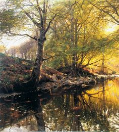 PEDER MORK MONSTED, 1859 – was a danish landscape artist, well known for his romantic, poetic painting of nature. he depicted the grandeur and monumental aspect of the landscape, with a… Paintings I Love, Nature Paintings, Beautiful Paintings, Watercolor Paintings, Landscape Art, Landscape Paintings, Forest Painting, Oeuvre D'art, Painting Inspiration