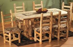 Cabela's: Mountain Woods Aspen 6' Upholstered Dining Set with Bench
