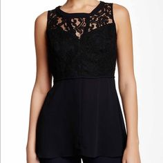 BCBGeneration Lace Panel tank Gorgeous doesn't even begin to describe this top!!  Sleeveless with a front lace panel. Key hole opening in back.  Material is slightly sheer everywhere except where the lace panel is. BCBGeneration Tops Blouses