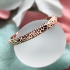 So incredibly gorgeous! #CvBInspiredDesign will be offering #VintageInspired hand-carved bands to complement our setting lines, & this 18K rose gold stunner is the first to arrive; we couldn't be more pleased. Perfect as a wedding band, or in a stack of many Contact me for more information on ordering your custom engraved band; whether it be floral or scrolls or a combo of both, just inquire...the styles are limitless. #CvBInspiredDesign #CvBexclusive