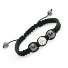 Diamond Theme Clear Crystal Charm Bracelet with Hematite Beads Adjustable Hand Braided Bracelet White April Birthstone for Women, Men, Teens and Kids SHOP25. $9.99. Lightweight, perfect for daily use.. Hypoallergenic materials. Strong hand-braided textile material. Hematite beads with tug-to-adjust fitting. Synthetic glass bead charm theme