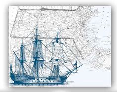 Sailboat Print in dark blue on antique map by PrintLand on Etsy, $25.00