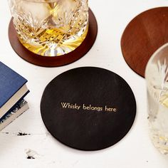 Personalised Vintage Style Leather Coaster by ParkinandLewis on Etsy