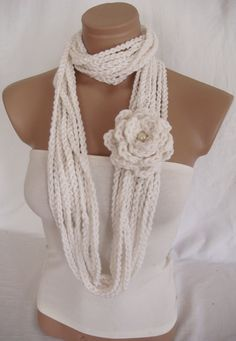 Crocheted Scarf, Infinity Rope Scarf, Chain Scarf (White) by Arzus Style