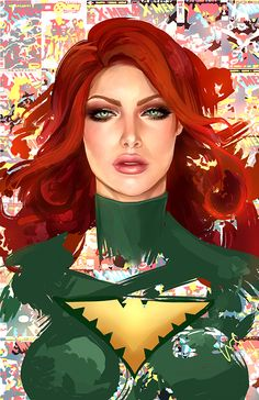 """Ladies of Marvel Comics on Behance  """"But the fire of the Phoenix burns through lies, you understand? The gaze of the Pheonix is like an x-ray tearing through every self-deception.""""   - Jean Grey by Whitney Jiar"""