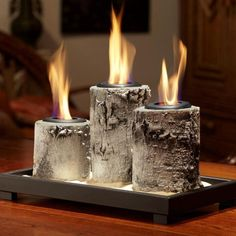 Real Flame Birch Pillar Tabletop Gel Fireplace.  Finally found a new set on ebay.  Wonderful!! Love these!