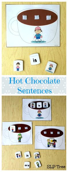 Winter Speech Therapy! Use these marshmallows to describe pictures on hot chocolate mugs to work on expanding utterances using subject/verb and subject/verb/object sentence structure, syntax, personal pronouns, subject-verb agreement, and present progressive verb tense.