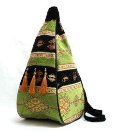 Ethnic Tribal Style Backpack - Bohemian Crossbody Bag - Exotic Shoulder   Bag - Extraordinary Design - Pear Shaped Odd Bag