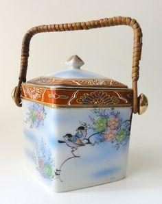 Vintage Porcelain Biscuit Cookie Barrel Japan by Chixycoco on Etsy, £24.00
