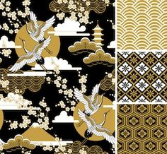 japanese pattern set. seamless vector ornaments with traditional motives. Japanese Patterns, Japanese Fabric, Graphic Design Pattern, Pattern Art, Modern Chinese Interior, Baroque Art, African Textiles, Oriental Pattern, Textile Patterns