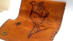 North and South America map Tobacco Pouch, Leather Tobacco Case, Tobacco Smokers, Pyrography Handcrafted Vintage Genuine Leather smokers bag South America Animals, North And South America, South America Travel, Leather Dye, Leather Pouch, Pyrography Designs, Plan Your Trip, Vintage Leather, Hand Sewing