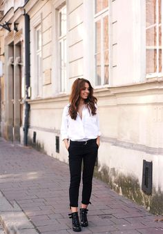 button down shirt with combat boots