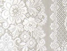 Detail of our Melrose Nottingham woven lace curtain panel.