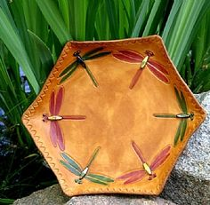 """Dragonfly Dance"" Sculpted Leather Vessel by Deborah & Russell Shamah"