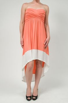 Banded Coral Hi Low Dress www.shopmapel.com